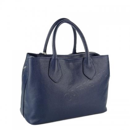 Дамска кожена чанта в тъмно син цвят 9000I-3