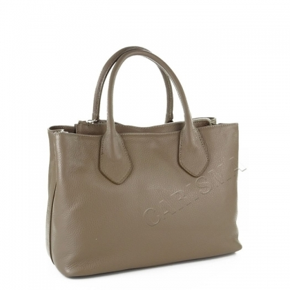Дамска кожена чанта в цвят каки 9000I-2