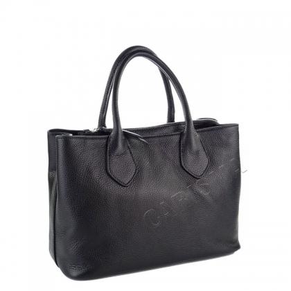 Дамска кожена чанта в черен цвят 9000I-1