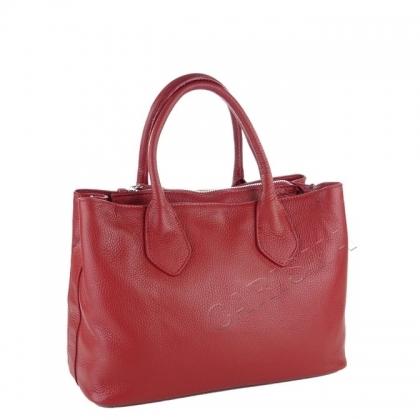 Дамска кожена чанта в тъмно червен цвят 9000I