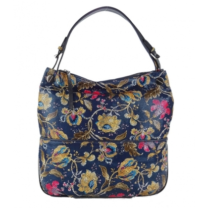 Кожена дамска чанта на цветя