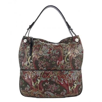 Кожена дамска чанта с флорамни мотиви 3892Т-2
