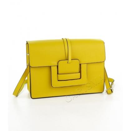 Чанта от естествена кожа в жълто 1200-2