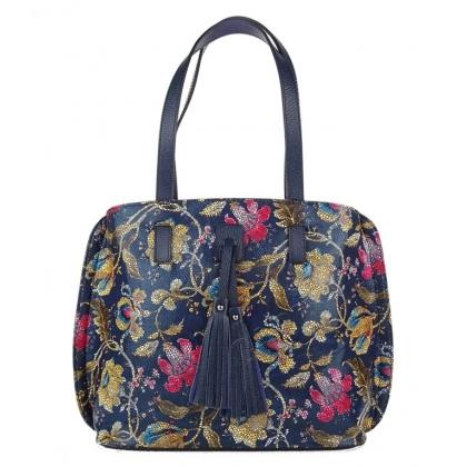 Дамска кожена чанта с флорални мотиви 1140R