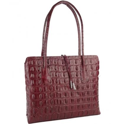 Дамска чанта от естествена кожа в цвят бордо P2310-4