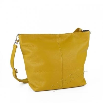 Дамска чанта от естествена кожа в цвят горчица 1216L-3