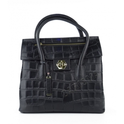 Черна чанта крокодилска щампа