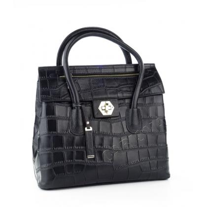 Кожена чанта с декоративен цип, Черна V034