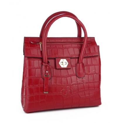 Кожена чанта с декоративен цип, Червена  034V-1