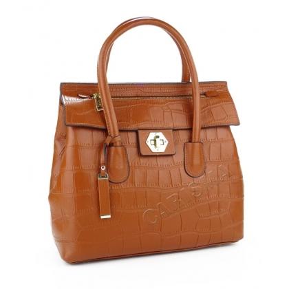 Чанта от естествена кожа с декоративен цип, Коняк 034V-2