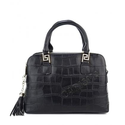 Естествена кожена чанта с висулка