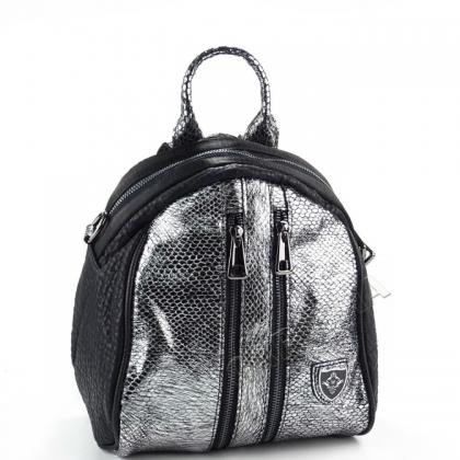 Чанта раница Лукс, Сребърно и Черно, 027V