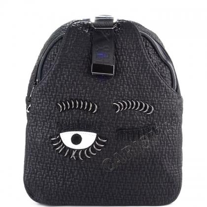 Мека дамска раница от естествена кожа в черен цвят 028V
