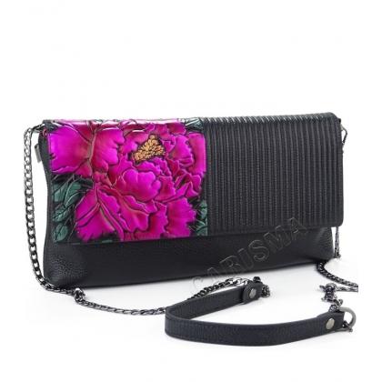 Чанта клъч от естествена кожа с апликация роза 81675-5