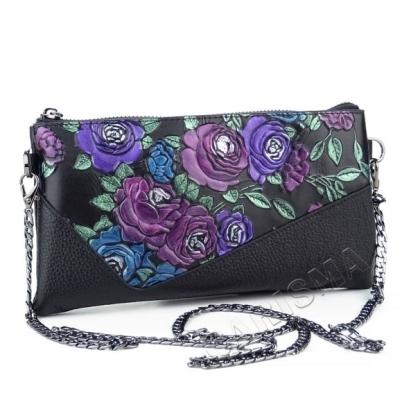 Кожено портмоне-чанта с апликация рози и дълга дръжка 81675-1