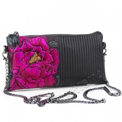 Кожено портмоне- чанта с апликация цветя и дълга дръжка 81675-2