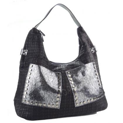Чанта тип торба със сребърни джобове с капси