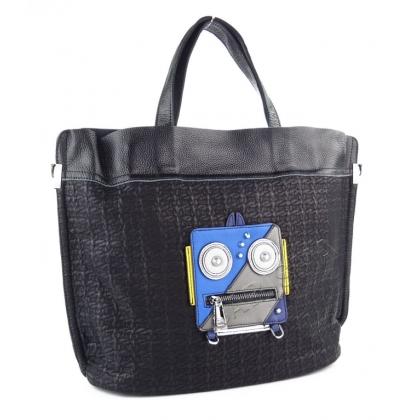 Дамска чанта от естествена кожа с апликация робот