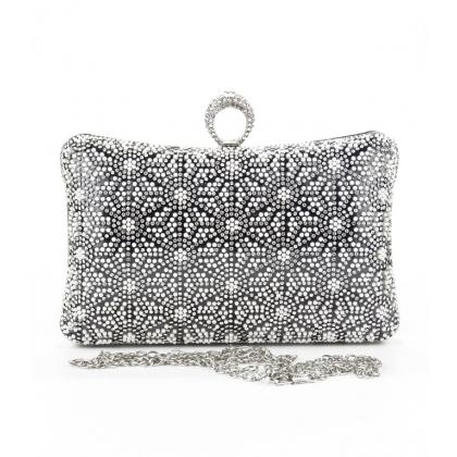 Абитуриентска черна чанта от сатен с кaмъни и перли, 005V
