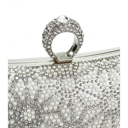 Абитуриентска вечерна сребърна чанта