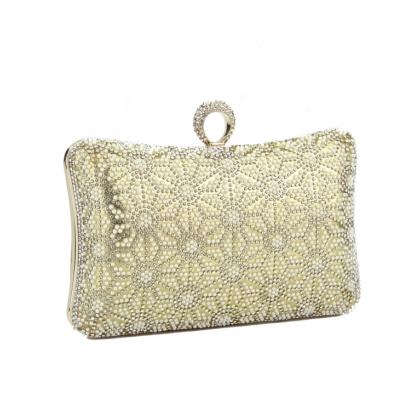Абитуриентска златиста чанта от сатен с камъни и перли