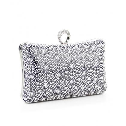 Абитуриентска чанта от сатен с камъни и перли