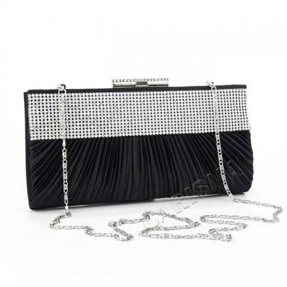 Вечерна черна чанта, Сатен и Камъни, 0332