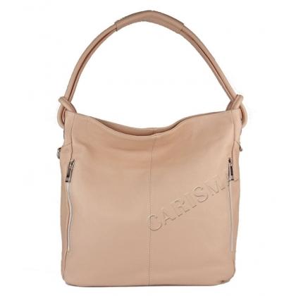 Кожена чанта тип торба, Пудра, 8851