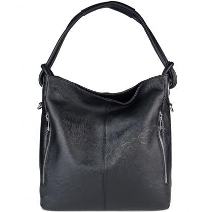 Черна дамска чанта тип торба, 8852