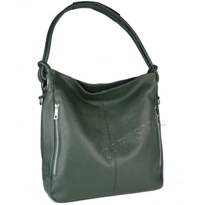 Тъмнозелена кожена чанта тип торба, 8853