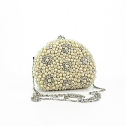 Малка абитуриентска чанта с камъни и перли 0365М