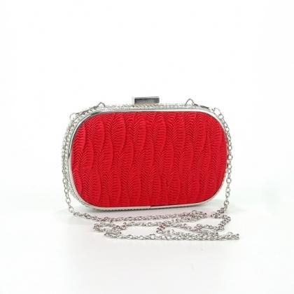 Малка чантичка от сатен и камъни в червено 3492OF