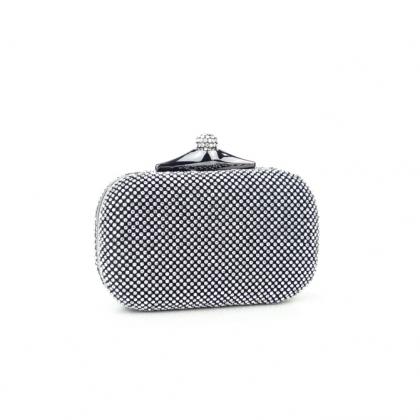 Абитуриентска Вечерна чанта с камъни в черно 1942B