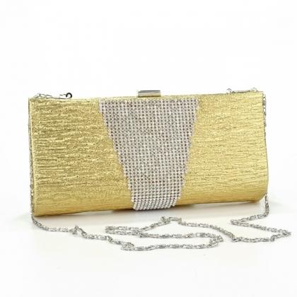 Абитуриентска чанта от еко кожа и камъни в златисто