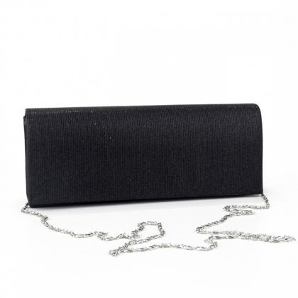 Вечерна дамска чанта от плат в черно 21772MQ