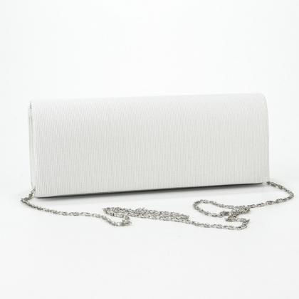 Вечерна дамска чанта от плат в бяло