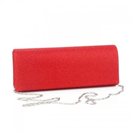 Вечерна дамска чанта от плат в червено 21772MQ-2