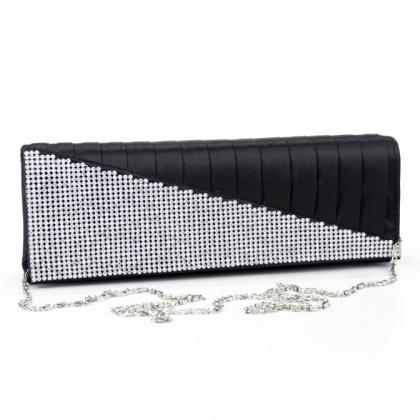 Официална бална чанта тип клъч с камъни в черно 92OF-1