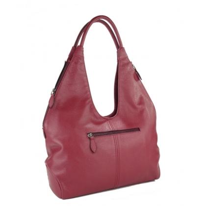 Чанта от естествена кожа в бордо