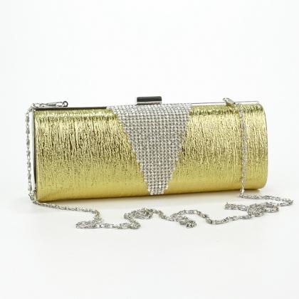 Златиста абитуриентска чанта от еко кожа