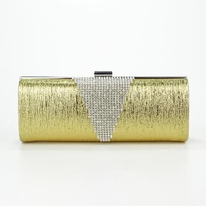 Дамска златна официална чанта