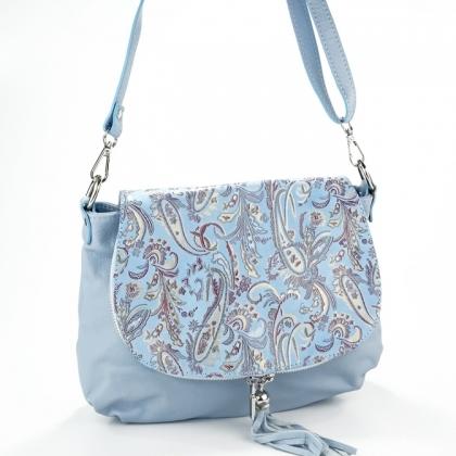 Светлосиня чанта от естествена кожа 43-2
