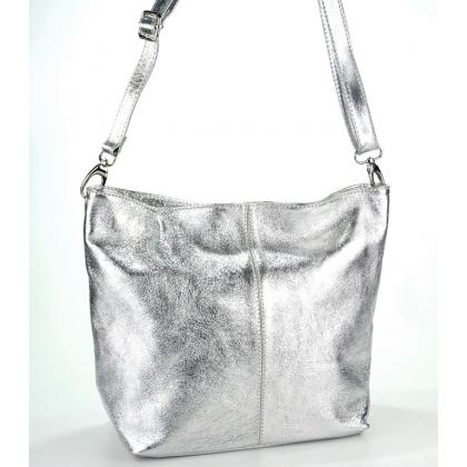 Сребриста кожена дамска чанта