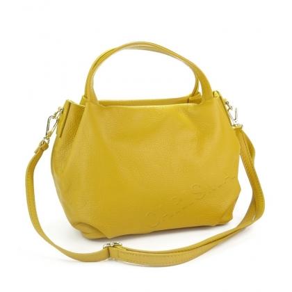 Дамска чанта от естествена кожа, Жълт цвят 9128-5