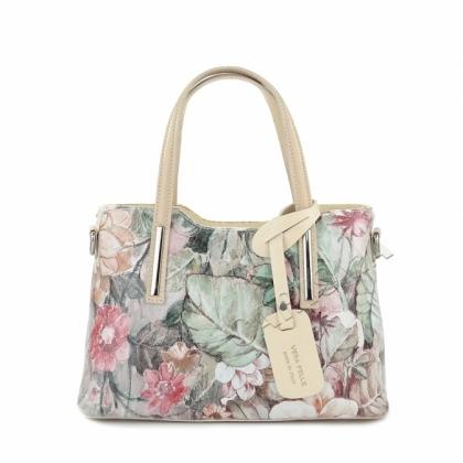 Дамска кожена чанта на цветя 336