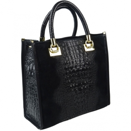 Чанта от естествен велур кроко,1367-1, CARISMA