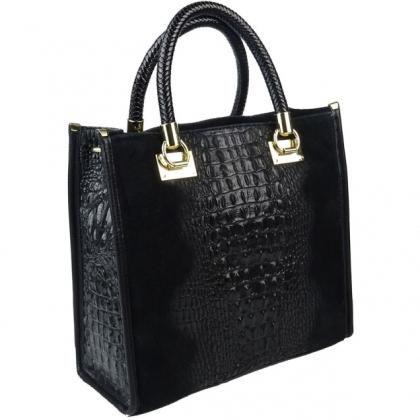 Чанта тип куфарче от естествен велур кроко,1367-1, CARISMA