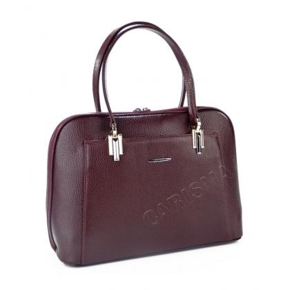 Луксозна дамска чанта от естествена кожа в бордо 33333