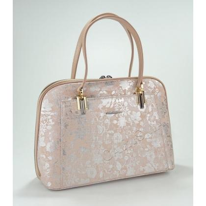 Луксозна кожена чанта с лазерна обработка в розово 33333-1