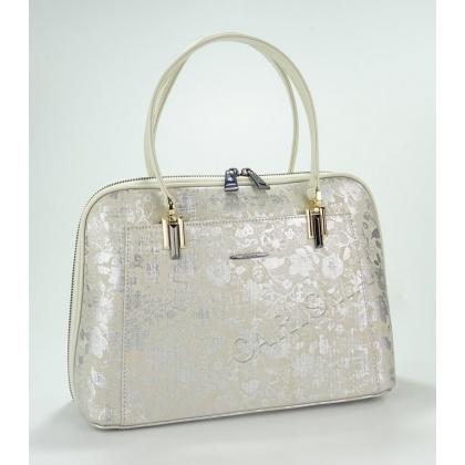 Луксозна кожена чанта с лазерна обработка в бежово 33333-3